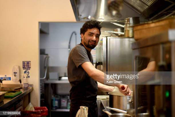 Chefs at Angelina restaurant prepare food to feed Hackney's most vulnerable residents on April 20, 2020 in London, England. 'Made In Hackney' are a...
