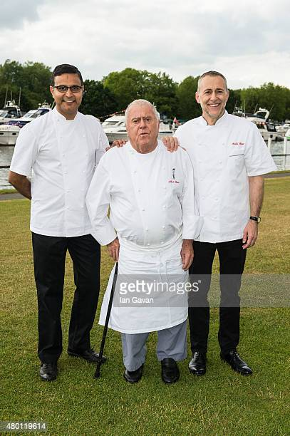 Chefs Atul Kochhar Albert Roux and Michel Roux Jr pose on Day 1 of The Henley Festival on July 8 2015 in HenleyonThames England