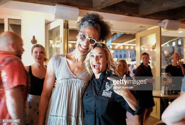 Chefs Carla Hall and Cat Cora attend the Grand Opening Of Fatbird Restaurant at Fatbird on July 12 2017 in New York City