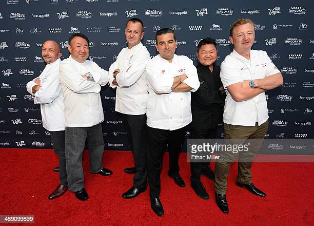 Chefs Christopher Christie Tetsuya Waaku Olivier Dubreuil Buddy Valastro Justin Quek and Luke Mangan attend Vegas Uncork'd by Bon Appetit's Grand...