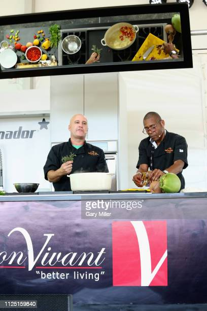 Chefs Cody Bush and Anthony Lawson give a cooking demonstration during the sold out inaugural KAABOO Cayman Festival at Seven Mile Beach on February...