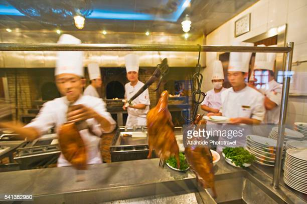 Chefs Cooking at Hepingmen Quanjude Roast Duck Restaurant