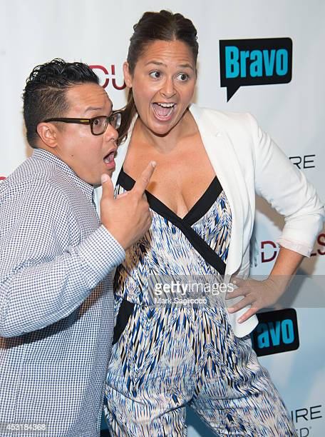 """Chef's Dale Talde and Antonia Lofaso attends Bravo's """"Top Chef Duels"""" series premiere at the Altman Building on August 4, 2014 in New York City."""