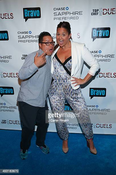 """Chefs Dale Talde and Antonia Lofaso attends the """"Top Chef Duels"""" series premiere at Altman Building on August 4, 2014 in New York City."""