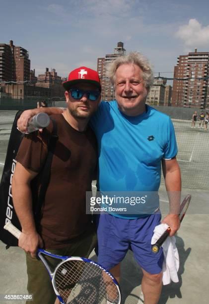 Chefs Daniel Holzman and Jonathan Waxman attend the Taste Of Tennis Week Celebrity Chef Tennis Challenge at Midtown Tennis Club on August 20 2014 in...