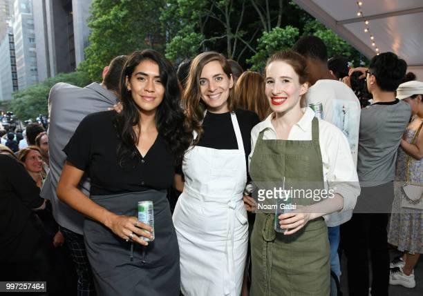 Chefs Daniela SotoInnes Sara Kramer and Sarah Hymanson celebrate with SPellegrino at the firstofitskind Manhattanhenge viewing celebration high above...