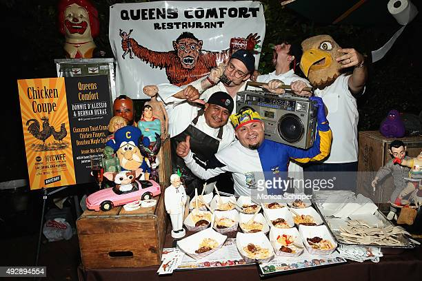 Chefs Donnie D'Alessio Hernan Heras and staff of Queens Comfort pose with their dish Cinnamon Toast Crunch Chicken Fingers Bourban Maple Syrup at...