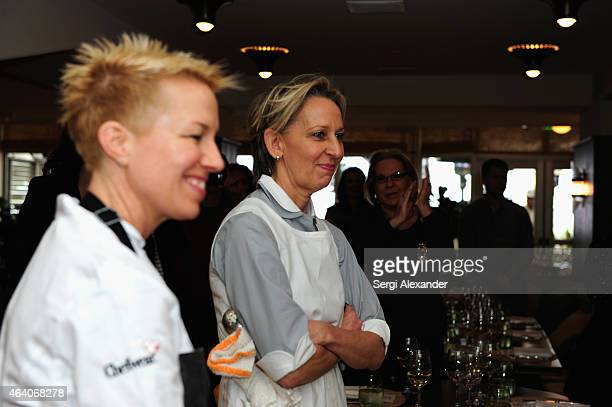 Chefs Elizabeth Falkner and Gabrielle Hamilton attend A League Of Their Own A Lunch Hosted by Michelle Bernstein Gabrielle Hamilton and Elizabeth...