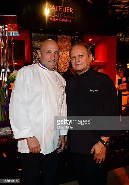 Chefs Eric Bouchenoire and Joel Robuchon appear at Vegas Uncork'd by Bon Appetit's Grand Tasting event at Caesars Palace on May 10 2013 in Las Vegas...