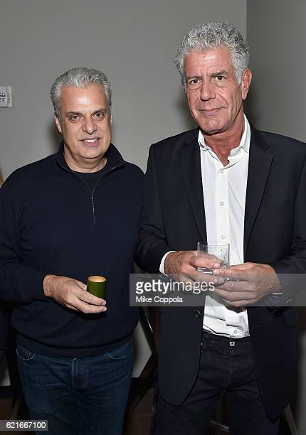 Chefs Eric Ripert and Anthony Bourdain attend a screening of 'Anthony Bourdain Parts Unknown Japan with Masa' at Samsung 837 on November 7 2016 in...