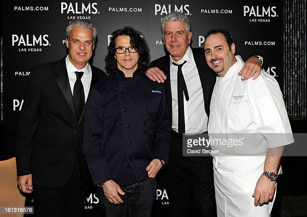 Chefs Eric Ripert Kerry Simon television personality Anthony Bourdain and chef Barry Dakake appear at the Palms Casino Resort on February 9 2013 in...
