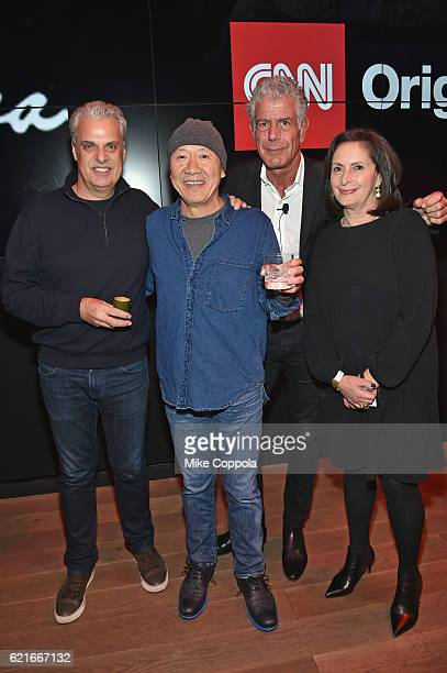 Chefs Eric Ripert Masa Takayama Anthony Bourdain and EVP for Talent and Content Development at CNN Worldwide Amy Entelis attend a screening of...