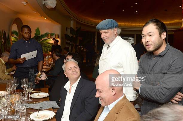 Chefs Francis Mallmann and Paul Qui speak at a Dinner Hosted By Francis Mallmann And Paul Qui during 2016 Food Network Cooking Channel South Beach...