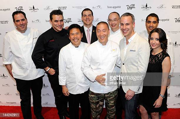 Chefs from Bellagio restaurants pose with EditorinChief of Bon Appetit magazine Adam Rapoport and Vice President and Publisher of Bon Appetit...
