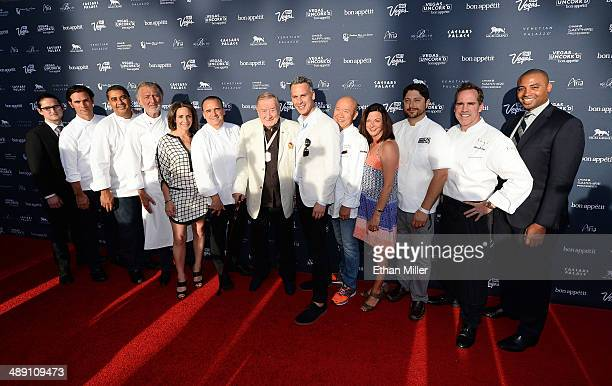 Chefs from the Aria Resort Casino at CityCenter pose with Vice President and Publisher of Bon Appetit magazine Pamela Drucker Mann EditorinChief of...