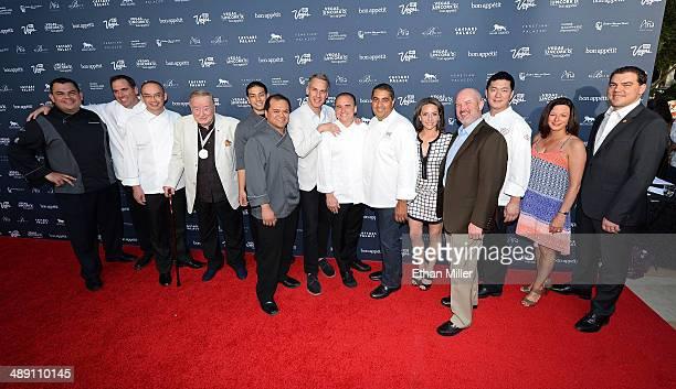 Chefs from the Bellagio pose with EditorinChief of Bon Appetit magazine Adam Rapoport Vice President and Publisher of Bon Appetit magazine Pamela...