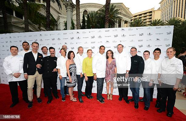 Chefs from the Mandalay Bay Resort Casino pose with EditorinChief of Bon Appetit magazine Adam Rapoport Las Vegas Convention and Visitors Authority...