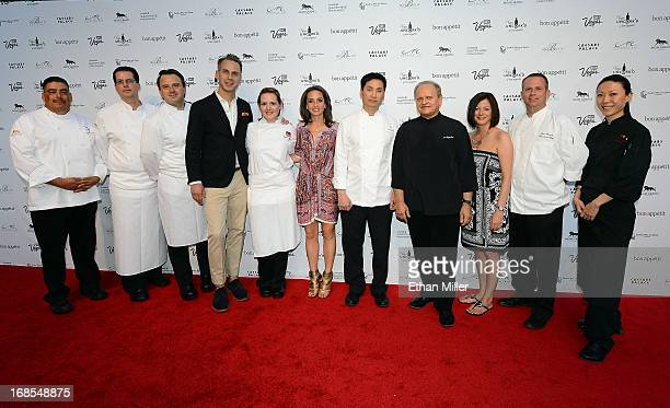 Chefs from the MGM Grand Hotel/Casino pose with EditorinChief of Bon Appetit magazine Adam Rapoport Vice President and Publisher of Bon Appetit...