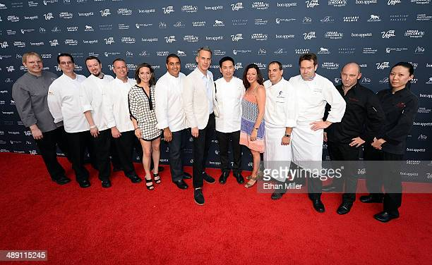 Chefs from the MGM Grand Hotel/Casino pose with Vice President and Publisher of Bon Appetit magazine Pamela Drucker Mann EditorinChief of Bon Appetit...