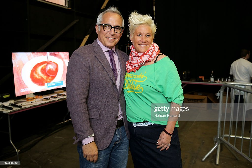 Chefs Geoffrey Zakarian and Anne Burrell attend the Grand Tasting presented by ShopRite featuring Samsung culinary demonstrations presented by MasterCard - Food Network & Cooking Channel New York City Wine & Food Festival presented by FOOD & WINE at Pier 94 on October 17, 2015 in New York City.