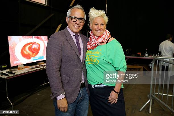 Chefs Geoffrey Zakarian and Anne Burrell attend the Grand Tasting presented by ShopRite featuring Samsung culinary demonstrations presented by...