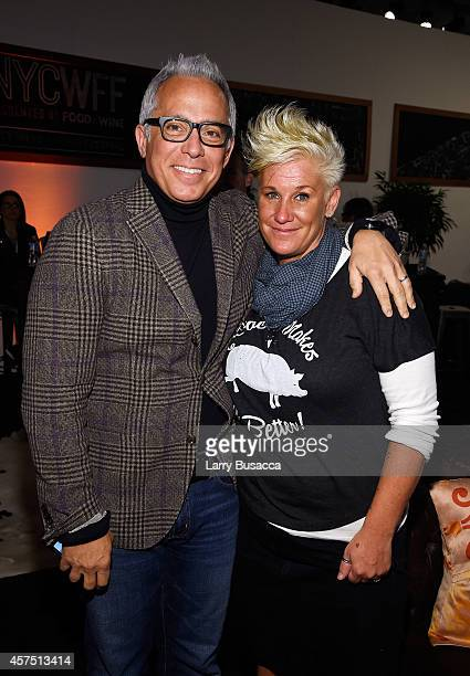 Chefs Geoffrey Zakarian and Anne Burrell pose backstage at the Grand Tasting presented by ShopRite featuring KitchenAid® culinary demonstrations...