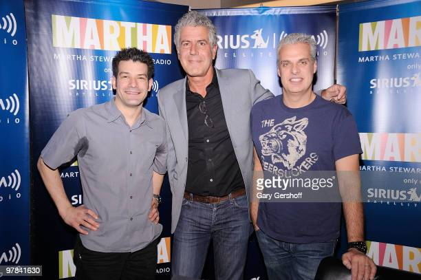 Chefs George Mendes Anthony Bourdain and Eric Ripert visit the SIRIUS XM Studio on March 18 2010 in New York City