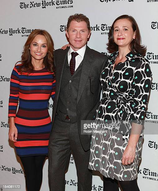 Chefs Giada de Laurentiis Bobby Flay and reporter Julia Moskin attend TimesTalks A Conversation With Giada De Laurentiis And Bobby Flay at The Times...