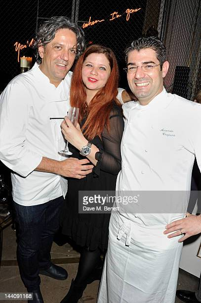 Chefs Giorgio Locatelli and Accursio Craparo with guest attend the Pret A Diner 'Italians Do It Better' restaurant launch at 50 St James on May 9...