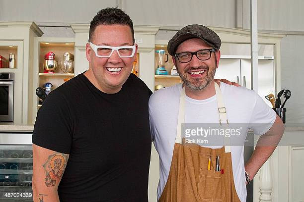 Chefs Graham Elliot and Merlin Verrier pose during the third annual Austin FOOD WINE Festival at Butler Park on April 26 2014 in Austin Texas