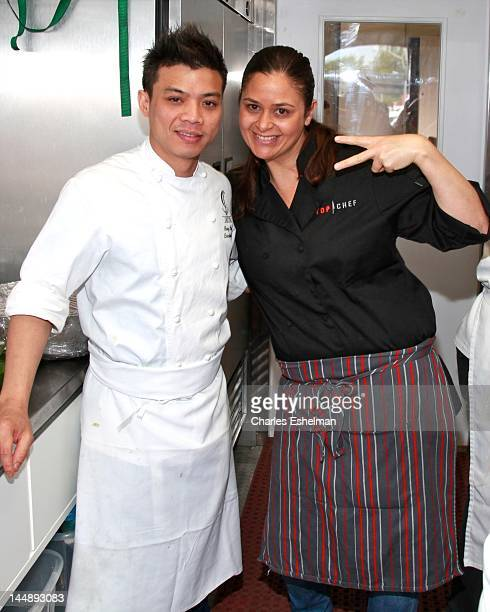 Chefs Hung Huynh and Antonia Lofaso compete in the 5th annual Top Chef: The Tour at Gansevoort Plaza on May 20, 2012 in New York City.