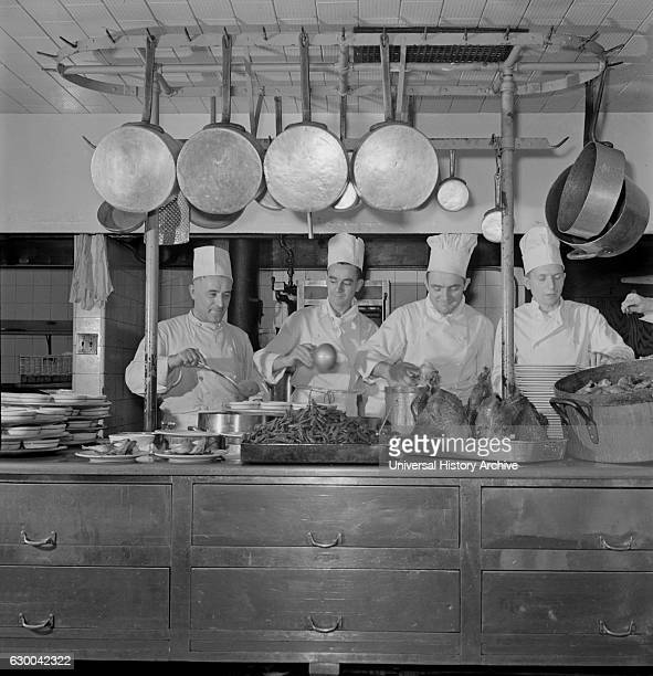 Chefs in Kitchen of one of the Fred Harvey Restaurants Union Station Chicago Illinois USA by Jack Delano for Office of War Information January 1943