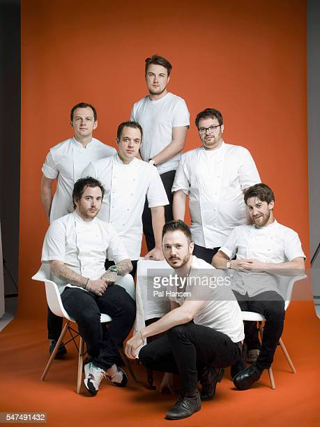 Chefs James Knappett Tomos Parry Isaac McHale Ollie Dabbous Tom Sellers Lee Wescott and James Lowe are photographed for the Independent on July 7...