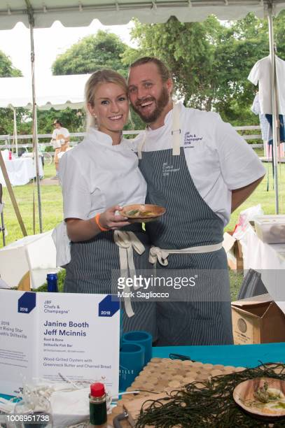 Chefs Janine Booth and Jeff Mcinnis attend the Audi Hamptons Magazine Celebration of James Beard Foundation's Chef and Champagne 2018 at Wolffer...