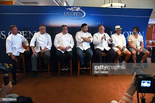 Chefs Jim Abbey Ed Brown David Burke David Chang Tony Mantuano Masaharu Morimoto and Ken Oringer attend Celebrity Chefs Present 2016 US Open Food...