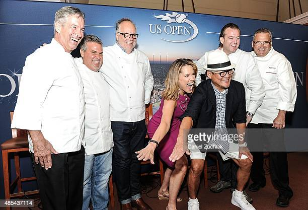 Chefs Jim Abbey Richard Sandoval Tony Mantuano Masaharu Morimoto Michael White and Ed Brown attend the 2015 US Open Food Tasting Preview at USTA...