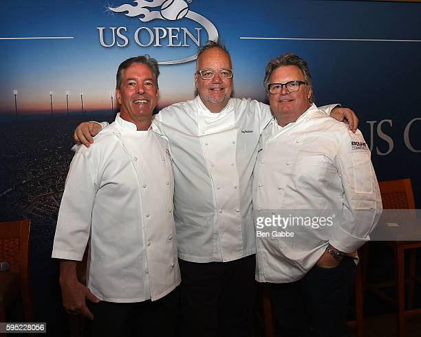 Chefs Jim Abbey Tony Mantuano and David Burke attend Celebrity Chefs Present 2016 US Open Food Tasting at USTA Billie Jean King National Tennis...