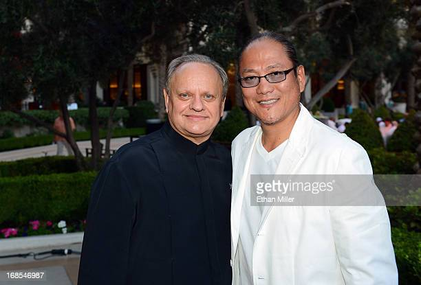 Chefs Joel Robuchon and Masaharu Morimoto appear at Vegas Uncork'd by Bon Appetit's Grand Tasting event at Caesars Palace on May 10 2013 in Las Vegas...