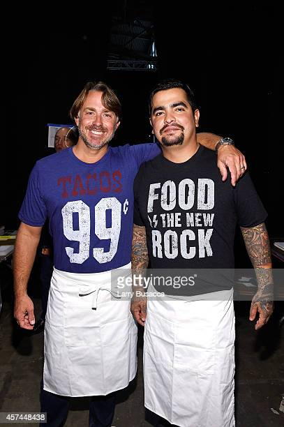 Chefs John Besh and Aaron Sanchez pose backstage at the Grand Tasting presented by ShopRite featuring KitchenAid® culinary demonstrations presented...