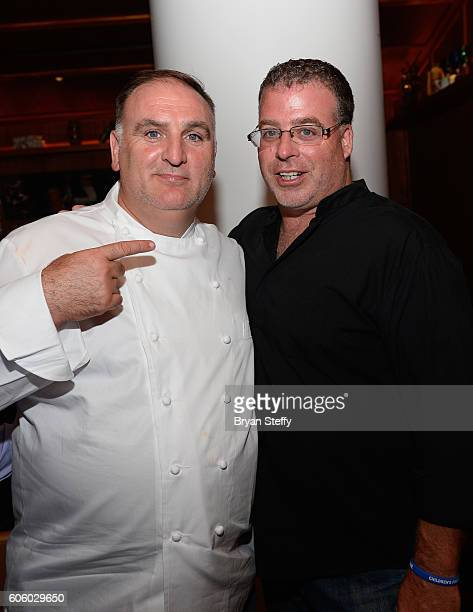 Chefs Jose Andres and Eddie 'Chef Eddie G' Gallagher attend the Las Vegas Food Wine Festival at Bazaar Meat at SLS Las Vegas Hotel on September 15...
