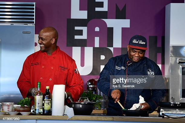 Chefs Keith Bryant and Carlos Swepson attend The Stroll A Grand Tasting Experience during Harlem EatUp Festival on May 16 2015 in New York City