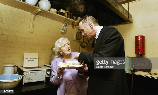 Chefs Marguerite Patten, and Gary Rhodes inspect the kitchen of former British prime minister Sir Winston Churchill at the opening of the first phase...