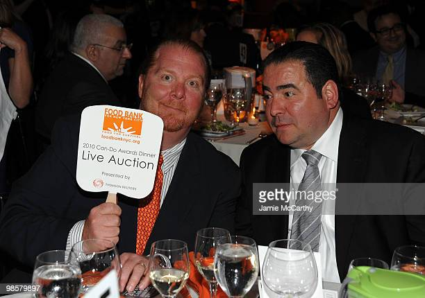 Chefs Mario Batali and Emeril Lagasse attend the Food Bank for New York City's 8th Annual CanDo Awards dinner at Abigail Kirsch�s Pier Sixty at...