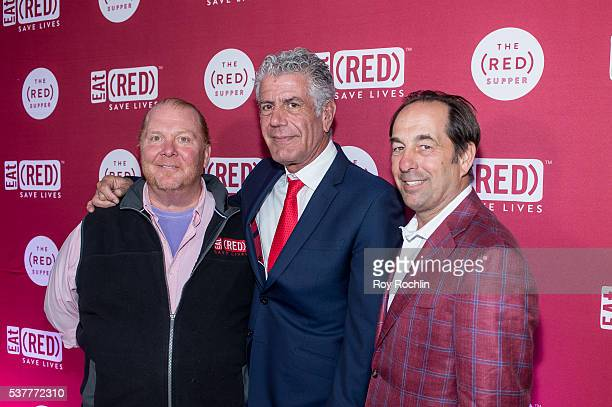 Chefs Mario Batali Anthony Bourdain and Joeseph Carr attend The Supper at 225 Liberty Street on June 2 2016 in New York City