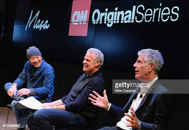 Chefs Masa Takayama Eric Ripert and Anthony Bourdain speak during a screening of 'Anthony Bourdain Parts Unknown Japan with Masa' at Samsung 837 on...