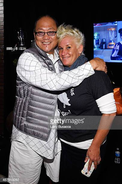 Chefs Masaharu Morimoto and Anne Burrell pose backstage at the Grand Tasting presented by ShopRite featuring KitchenAid® culinary demonstrations...