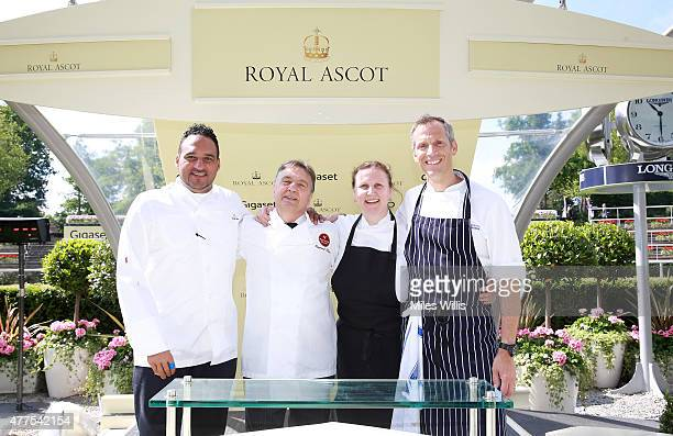 Chefs Michael Caines Raymond Blanc Angela Hartnett and Phil Howard pose during Royal Ascot 2015 at Ascot racecourse on June 18 2015 in Ascot England