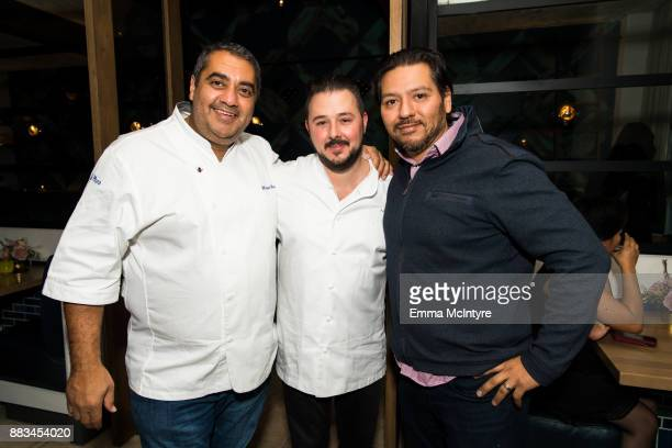Chefs Michael Mina Adam Sobel and Ray Garcia attend 'Cal Mare By Chef Adam Sobel grand opening party' on November 30 2017 in Los Angeles California