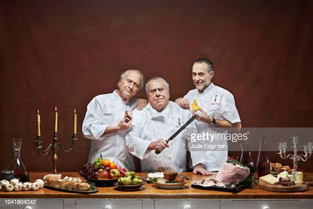 Chefs Michel Roux Albert Roux and Michel Roux Jr are photographed on April 2 2012 in London England