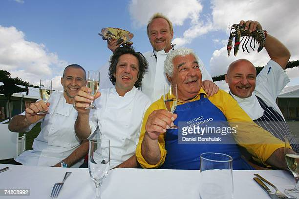 Chef's Michel Roux Jr Giorgio Locatelli Antony Worrall Thompson Antonio Carluccio Aldo Zilli pose for a photograph during the Taste of London event...